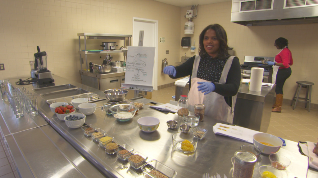 Dr. Nicole Farmer in the Physician's Kitchen at the Casey Health Institute in Gaithersburg, Maryland.