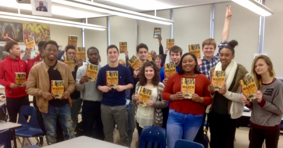 Students at Wissahickon High School in Ambler, Pa. in social studies teacher Tim Smyth's class. Students used Rep. John Lewis's graphic novel to learn about the civil rights movement.