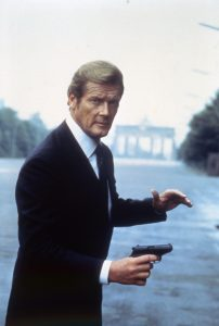 """Actor Roger Moore on the set of """"Octopussy"""". Photo by Sunset Boulevard/Corbis via Getty Images"""