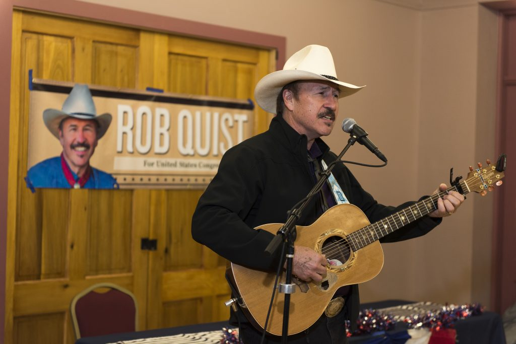 "LIVINGSTON, MT - MARCH 10: Montana Democrat Rob Quist campaigns on March 10, 2017 in Livingston, Montana. Quist is campaigning for the House of Representatives seat vacated by newly appointed Interior Secretary Ryan Zinke in a special election that will take place on May 25, 2017. Quist, 69, is a popular singer and songwriter who performed with the Mission Mountain Wood Band. He still tours with the band Rob Quist and the Great Northern. He wrote and performs his own campaign song-""I Will Stand Up for You"". Quist will be running against Republican Greg Gianforte who recently lost his run for governor of Montana. (Photo by William Campbell/Corbis via Getty Images)"
