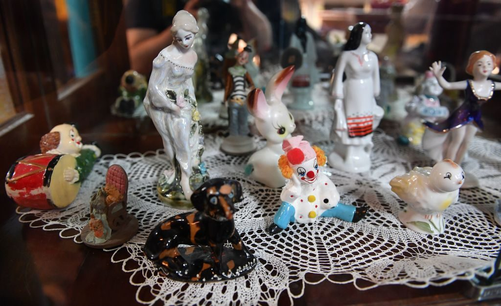 Porcelain figurines include clowns and puppies. Photo by Daniel Mihailescu/AFP/Getty Images