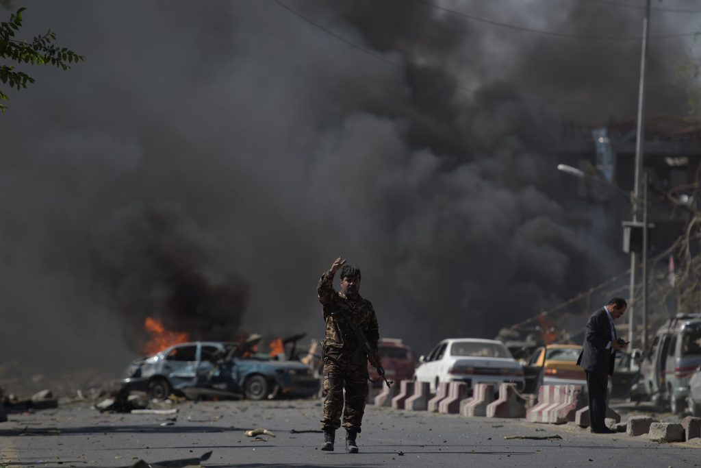 At least 40 people were killed or wounded on May 31 as a massive blast ripped through Kabul's diplomatic quarter, shattering the morning rush hour and bringing carnage to the streets of the Afghan capital. / AFP PHOTO / SHAH MARAI        (Photo credit should read SHAH MARAI/AFP/Getty Images)