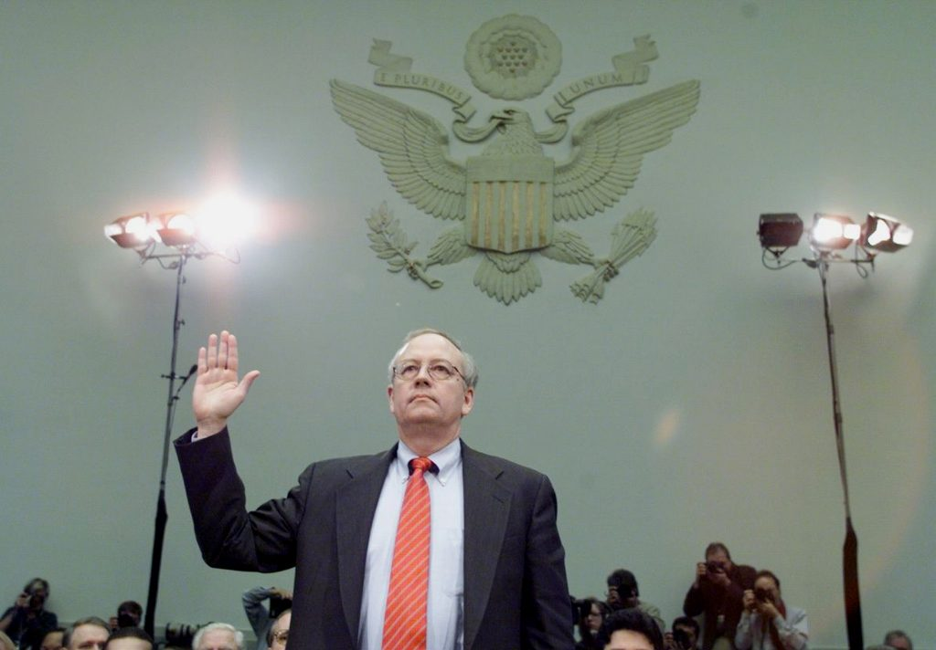 UNITED STATES - NOVEMBER 19:  Independent counsel Kenneth Starr swears in before testifying at the House Judiciary Committee hearings on whether to impeach President Clinton.  (Photo by Harry Hamburg/NY Daily News Archive via Getty Images)