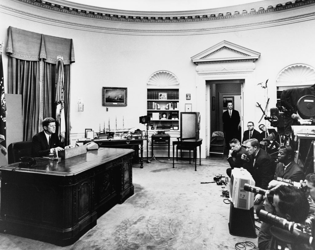 President Kennedy making a televised speech during the Alabama civil rights crisis, July 11, 1963. (Photo by Corbis via Getty Images