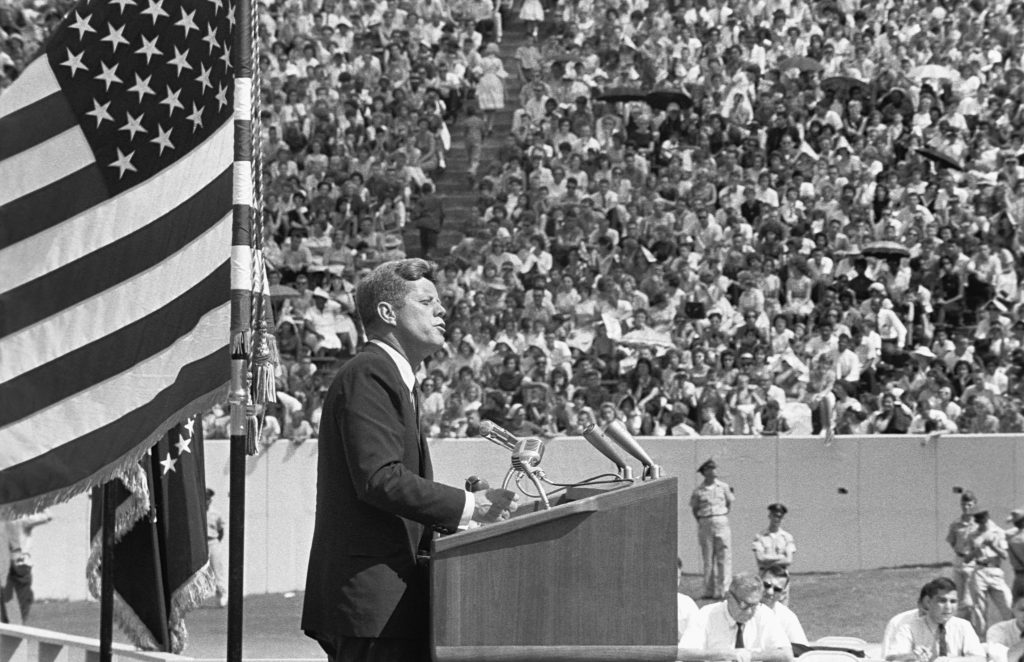 President Kennedy gives his 'Race for Space' speech at Houston's Rice University. Texas, September 12, 1962. Photo by Corbis via Getty Images