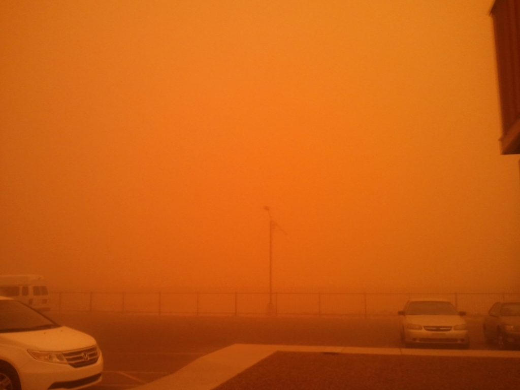 Sacaton, Arizona blanketed by a dust storm on July 5, 2011. Photo by Grace Watson