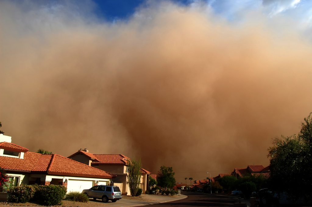 Dust storm covers Chandler, Arizona on August 11, 2011. A new study shows an uptick in Southwestern dust storms spurred by rising sea temperatures. Photo by