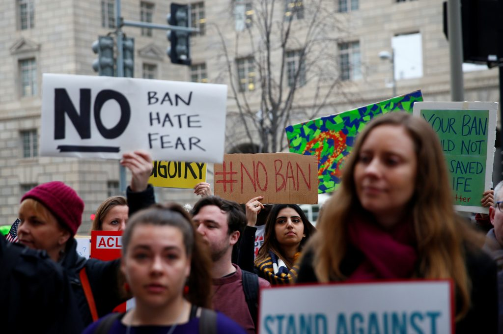 Immigration activists, including members of the DC Justice for Musl…