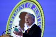 Attorney General Jeff Sessions delivers remarks at the Ethics and Compliance Initiative annual conference in Washington, D.C. Photo by Yuri Gripas/Reuters