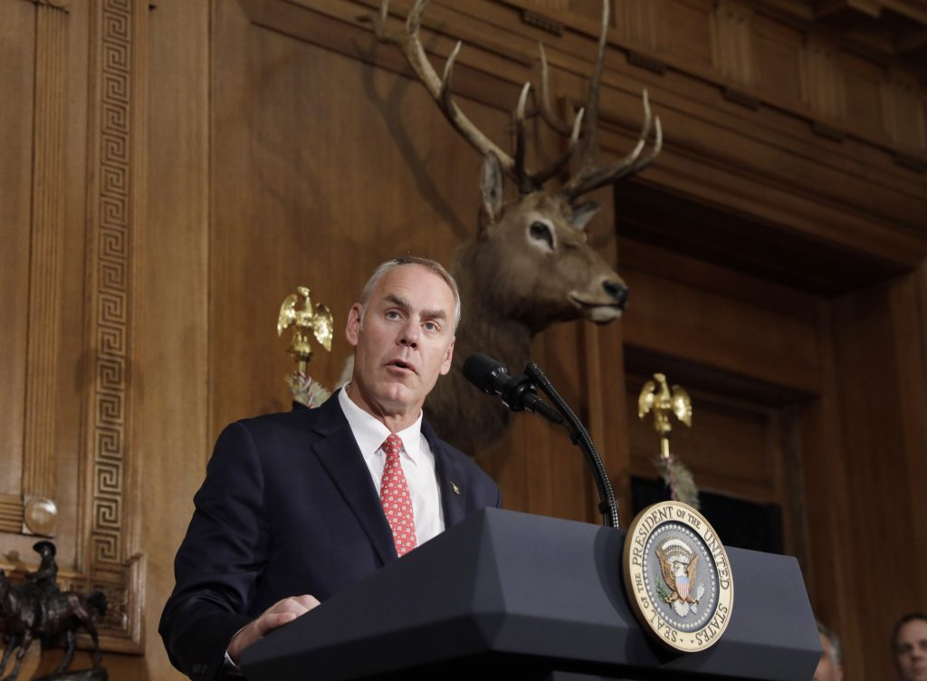 Interior Secretary Ryan Zinke speaks prior to President Donald Trump signing an executive order reviewing previous National Monument designations made under the Antiquities Act, at the Interior Department in Washington, D.C. Photo by Kevin Lamarque/Reuters