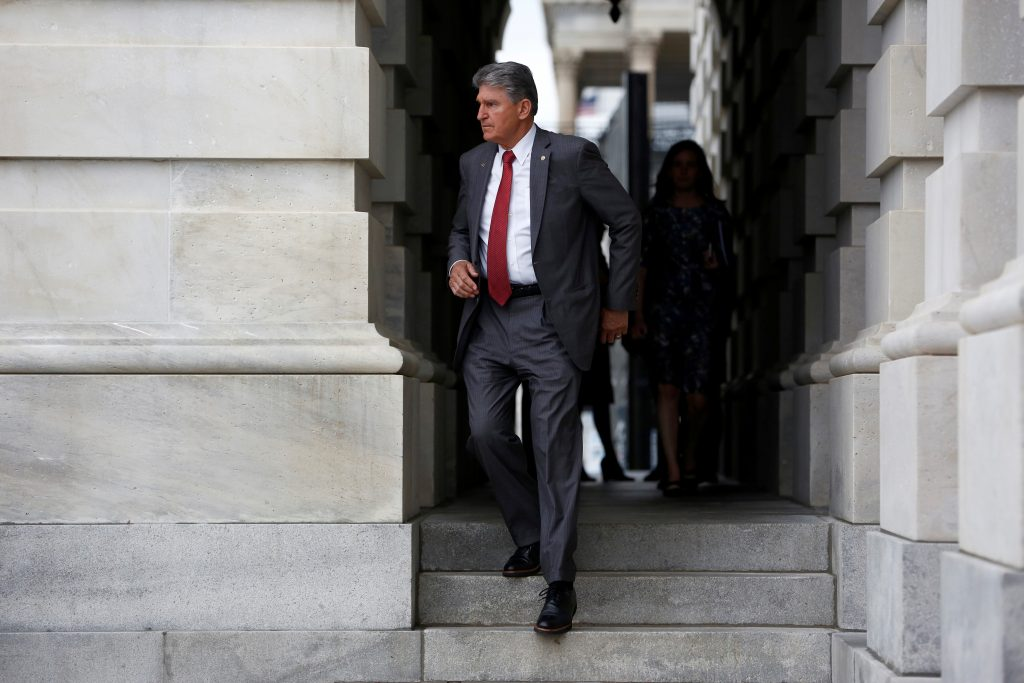 U.S. Senator Joe Manchin (D-WV) departs from the Capitol Building for a briefing on North Korea at the White House, in Washington, U.S., April 26, 2017. REUTERS/Aaron P. Bernstein - RTS1427H