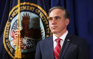 Veterans Affairs Secretary David Shulkin looks on prior to U.S. President Trump signing an Executive Order on improving accountability and whistleblower protection, at the Veterans Affairs Department in Washington, D.C. Photo by Carlos Barria/Reuters