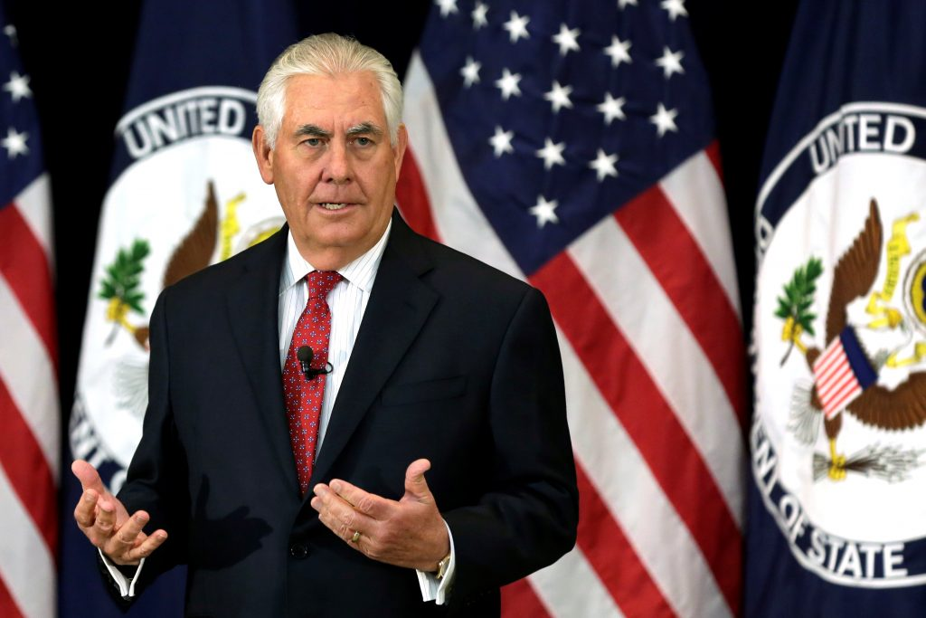 Secretary of State Rex Tillerson speaks to State Department employees in Washington, D.C., on May 3. Photo by Yuri Gripas/Reuters
