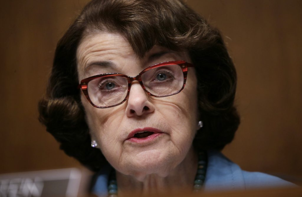 """Senate Judiciary Committee ranking member Sen. Dianne Feinstein (D-CA) speaks during FBI Director James Comey's appearance before a Senate Judiciary Committee hearing on """"Oversight of the Federal Bureau of Investigation"""" on Capitol Hill in Washington, U.S., May 3, 2017. REUTERS/Kevin Lamarque - RTS14Z2C"""