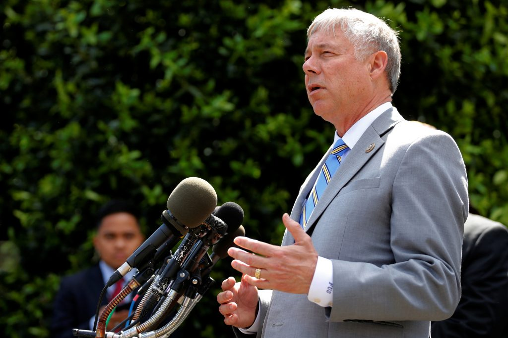 U.S. Representative Fred Upton (R-MI) speaks to reporters about health care legislation after meeting with President Trump at the White House in Washington, D.C., U.S., May 3, 2017. REUTERS/Jonathan Ernst - RTS14ZQO