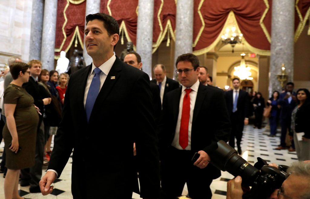 Speaker of the House Paul Ryan walks from the House Chamber after the U.S. House of Representatives approved a bill on Thursday to repeal major parts of Obamacare and replace it with a Republican healthcare plan in Washington, U.S., May 4, 2017. REUTERS/Kevin Lamarque TPX IMAGES OF THE DAY - RTS157JJ