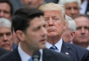 U.S. President Donald Trump (C) listens to House Speaker Paul Ryan (L) as he gathers with Congressional Republicans in the Rose Garden of the White House after the House of Representatives approved the American Healthcare Act, to repeal major parts of Obamacare and replace it with the Republican healthcare plan, in Washington, U.S., May 4, 2017. REUTERS/Carlos Barria - RTS157M3