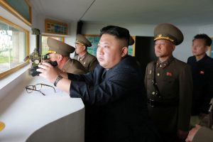 North Korean leader Kim Jong Un inspects the defence detachment on Jangjae Islet and the Hero Defence Detachment on Mu Islet located in the southernmost part of the waters off the southwest front, in this undated photo released by North Korea's Korean Central News Agency (KCNA) on May 5, 2017. KCNA/ via REUTERSATTENTION EDITORS - THIS PICTURE WAS PROVIDED BY A THIRD PARTY. REUTERS IS UNABLE TO INDEPENDENTLY VERIFY THE AUTHENTICITY, CONTENT, LOCATION OR DATE OF THIS IMAGE. FOR EDITORIAL USE ONLY. NOT FOR SALE FOR MARKETING OR ADVERTISING CAMPAIGNS. NO THIRD PARTY SALES. NOT FOR USE BY REUTERS THIRD PARTY DISTRIBUTORS. SOUTH KOREA OUT. NO COMMERCIAL OR EDITORIAL SALES IN SOUTH KOREA. THIS PICTURE IS DISTRIBUTED EXACTLY AS RECEIVED BY REUTERS, AS A SERVICE TO CLIENTS. - RTS15ACG