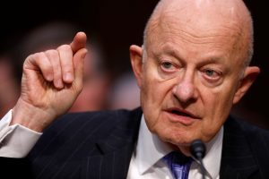 Former Director of National Intelligence James Clapper testifies about potential Russian interference in the presidential election before the Senate Judiciary Committee on Capitol Hill