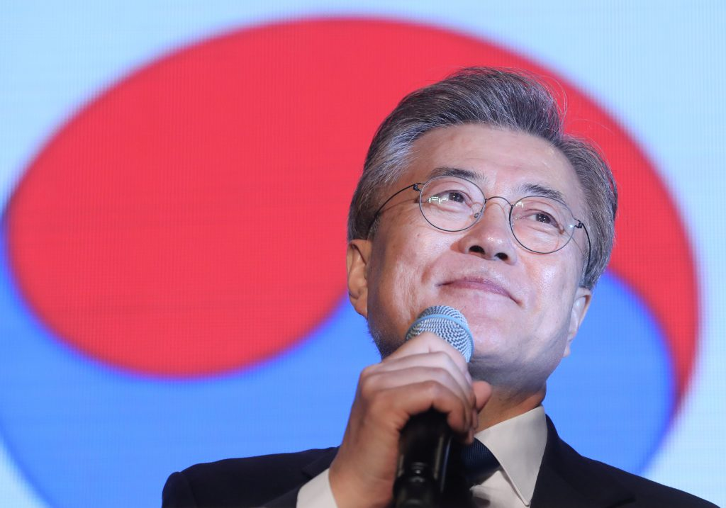 South Korea's president-elect Moon Jae-in speaks to supporters at Gwanghwamun Square in Seoul, South Korea on May 9, 2017. Photo by Seo Myeong-gon /Yonhap via Reuters