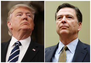 A combination photo shows U.S. President Donald Trump (L) and former FBI Director James Comey. Photos by Jim Lo Scalzo and Gary Cameron/Reuters