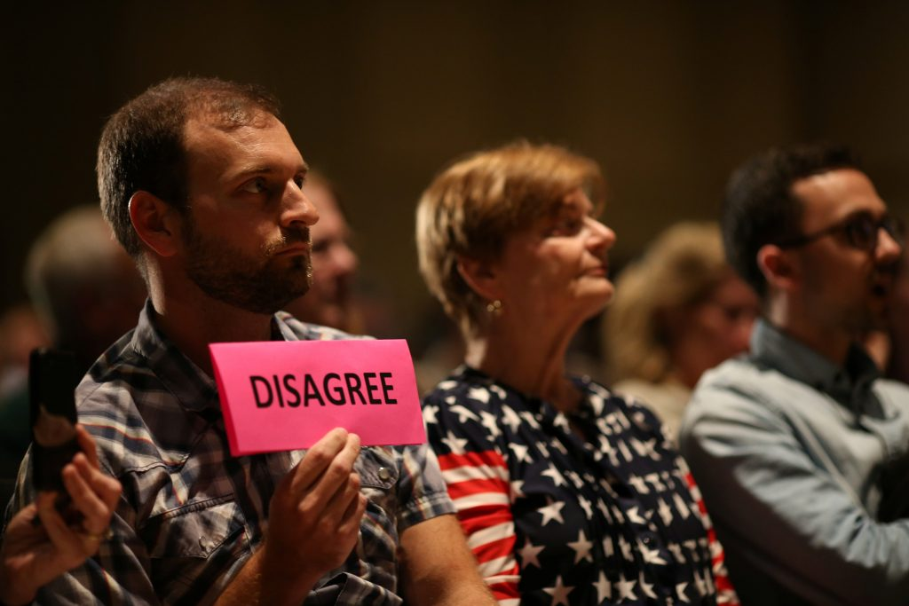 U.S. Representative Brat (R-VA) holds a town hall meeting with constituents in Midlothian, Virginia