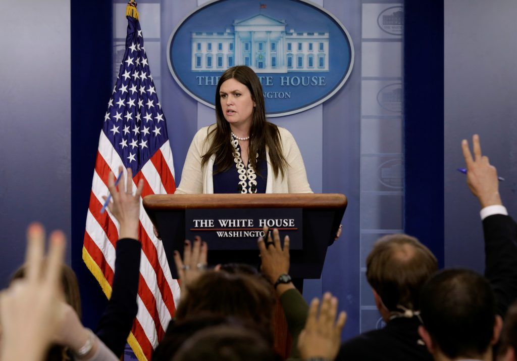 White House spokeswoman Sarah Sanders holds a press briefing at the White House in Washington, D.C. Photo by Kevin Lamarque/Reuters