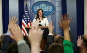 White House spokeswoman Sarah Huckabee Sanders holds a news briefing at the White House in Washington, D.C., U.S., May 11, 2017. REUTERS/Kevin Lamarque - RTS168SD