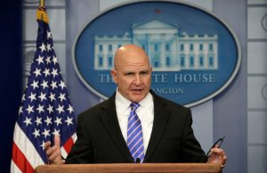 National security adviser H.R. McMaster speaks about President Trump's upcoming foreign trip during a press briefing at the White House on May 12, 2017. Photo by Kevin Lamarque/Reuters