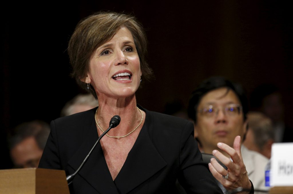 """U.S. Deputy Attorney General Sally Quillian Yates testifies during a Senate Judiciary Committee hearing on """"Going Dark: Encryption, Technology, and the Balance Between Public Safety and Privacy"""" in Washington July 8, 2015. REUTERS/Kevin Lamarque - RTX1JL11"""