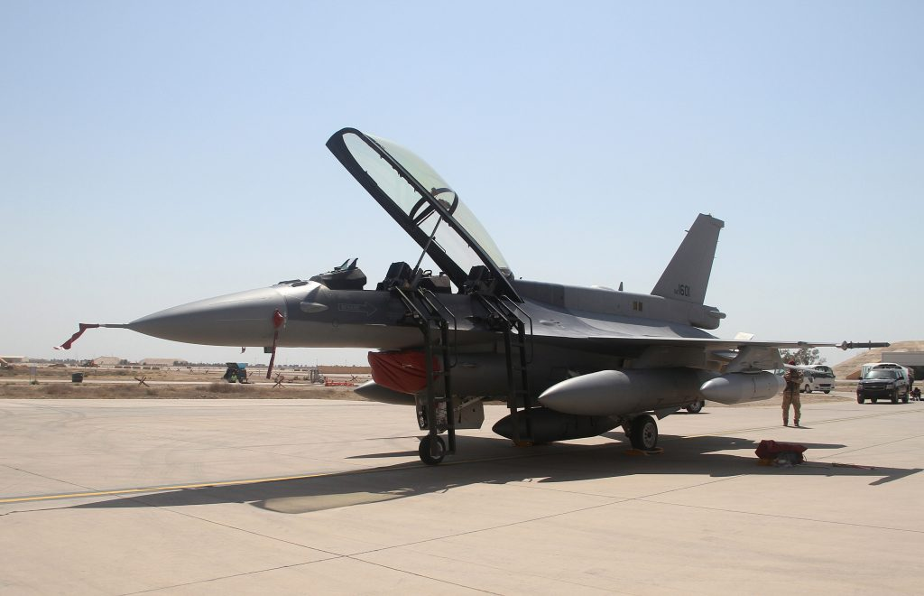 File photo of U.S. F-16 jet fighter at a military base in Balad, north of Baghdad, Iraq in 2015. Photo by Reuters stringer