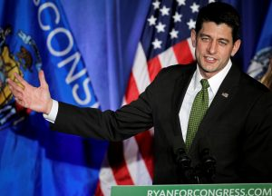 "U.S. Speaker of the House Paul Ryan (R-WI) gestures to the crowd during an ""Election Night event"" in Janesville, Wisconsin, U.S. November 8, 2016. REUTERS/Ben Brewer - RTX2SNQA"