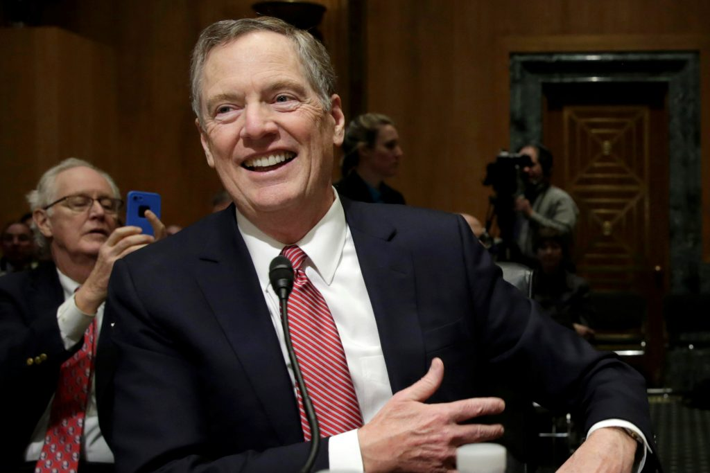 Robert Lighthizer smiles before a Senate Finance Committee confirmation hearing on his nomination to be U.S. trade representative on Capitol Hill in Washington, U.S., March 14, 2017. REUTERS/Yuri Gripas - RTX31039