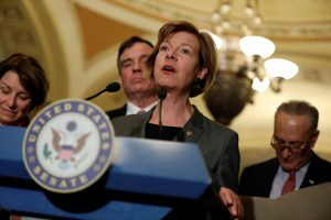 Senator Tammy Baldwin (D-WI) speaks with the media following the Democratic policy luncheon on Capitol Hill in Washington