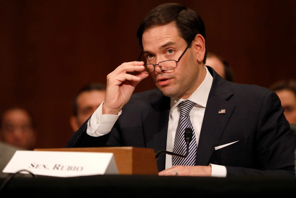 Sen. Marco Rubio introduces Alex Acosta, President Donald Trump's nominee to be Secretary of Labor, during his confirmation hearing before the Senate Health, Education, Labor, and Pensions Committee on Capitol Hill