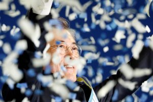 Moon Jae-in celebrates after winning the nomination as a presidential candidate of the Minjoo Party, during a national convention, in Seoul, South Korea, in April. Photo by Kim Hong-Ji/Reuters