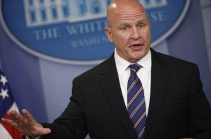 White House national security adviser H.R. McMaster takes questions from reporters in the White House briefing room in Washington, D.C. Photo by Joshua Roberts/Reuters