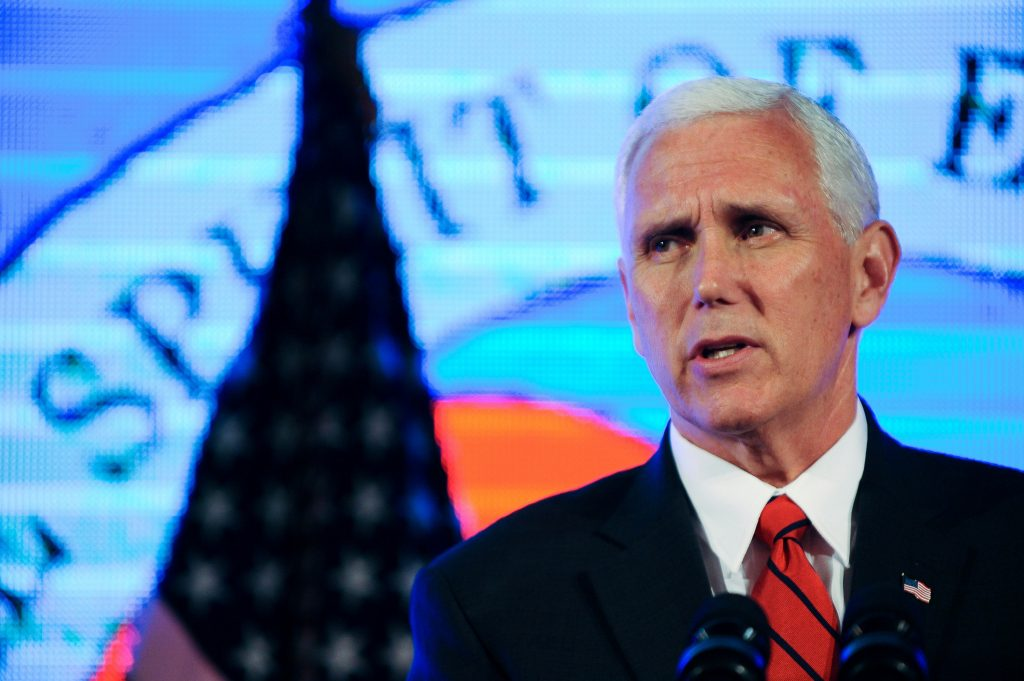 "Vice President Mike Pence addresses Chamber of Commerce ""Invest in America!"" summit in Washington, D.C. Photo by Mary F. Calvert/Reuters"