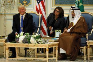 Saudi Arabia's King Salman welcomes Trump at the Royal Court in Riyadh