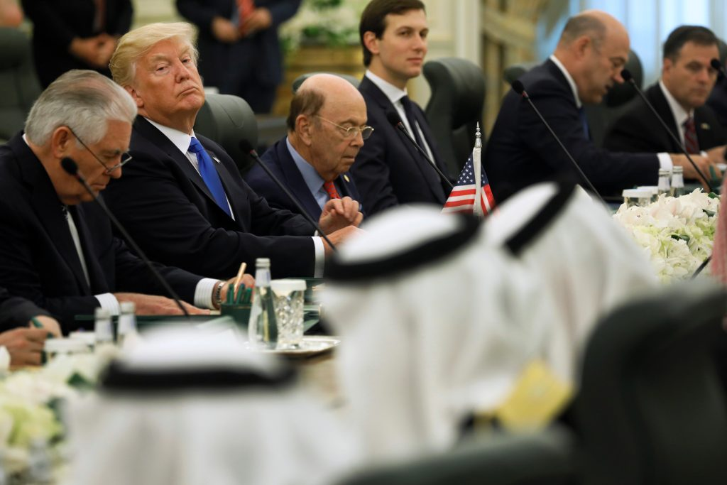 Trump and the U.S. delegation sit down to meet with Saudi Arabia's King Salman and his delegation at the Royal Court in Riyadh