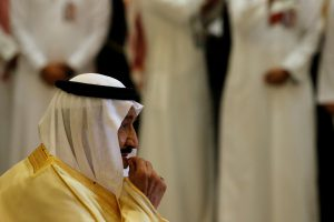 Saudi Arabia's King Salman waits to greet Trump as he arrives to attend summit of GCC leaders in Riyadh