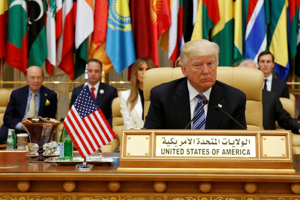 U.S. President Donald Trump takes his seat before his speech to the Arab Islamic American Summit in Riyadh, Saudi Arabia May 21, 2017. REUTERS/Jonathan Ernst - RTX36VBH