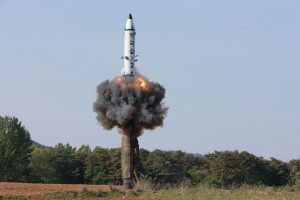 This undated photo of intermediate-range ballistic missile Pukguksong-2's launch test was released by North Korea's Korean Central News Agency (KCNA) on May 22, 2017. KCNA/via Reuters