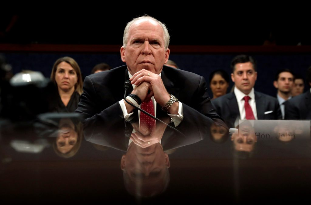 Former CIA director John Brennan testifies before the House Intelligence Committee to take questions on Russian active measures during the 2016 election campaign in Washington, D.C. Photo by Kevin Lamarque/Reuters