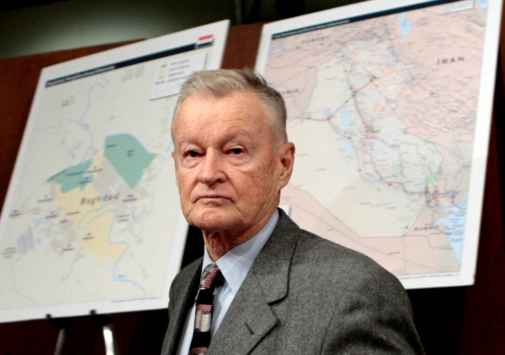 FILE PHOTO - Former U.S. National Security Adviser Zbigniew Brzezinski arrives to testify before the Senate Foreign Relations Committee on Capitol Hill in Washington