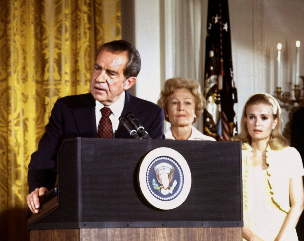 U.S. President Richard Nixon (L), in the White House East Room on August 9, 1974. Photo by Reuters