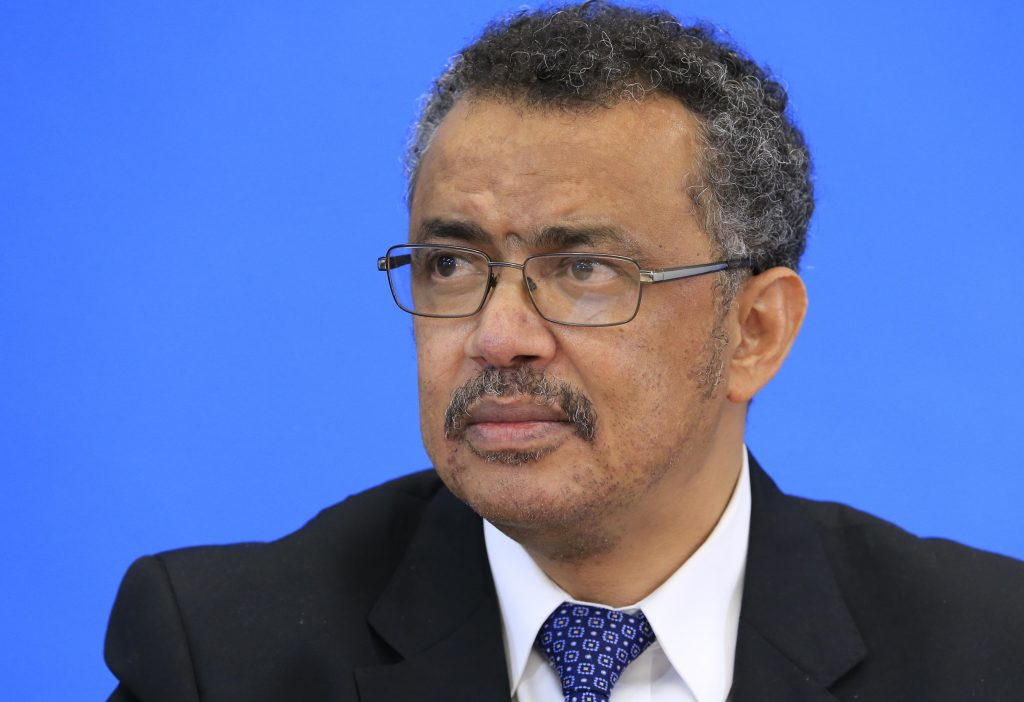 Tedros Adhanom Ghebreyesus, candidate for Director General of the World Health Organisation, attends a news conference at ...