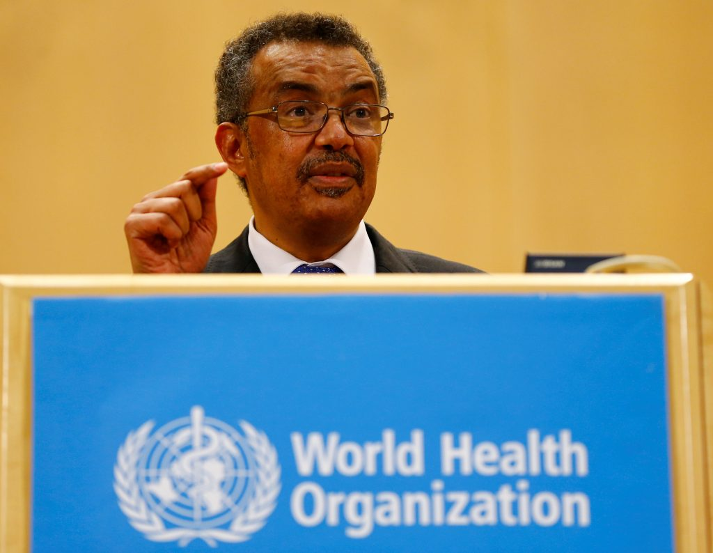 Newly elected Director General of the World Health Organization (WHO) Tedros Adhanom Ghebreyesus delivers a speech during the 70th World Health Assembly in Geneva, Switzerland, May 23, 2017. Photo by Denis Balibouse/REUTERS