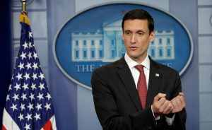 Homeland Security Advisor Tom Bossert announces May 11 that Trump signed an executive order to bolster the government's cyber security and protect the nation's critical infrastructure from cyber attacks, during a news briefing at the White House in Washington, D.C. Photo by REUTERS/Kevin Lamarque .