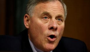 """Senate Intelligence Committee Chairman Sen. Richard Burr (R-NC) speaks during a committee hearing titled """"Disinformation: A Primer in Russian Active Measures and Influence Campaigns"""" at the U.S. Capitol in Washington, U.S., March 30, 2017. REUTERS/Kevin Lamarque - RTX33J38"""